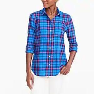 •J. Crew• The Perfect Shirt Pink Blue Plaid